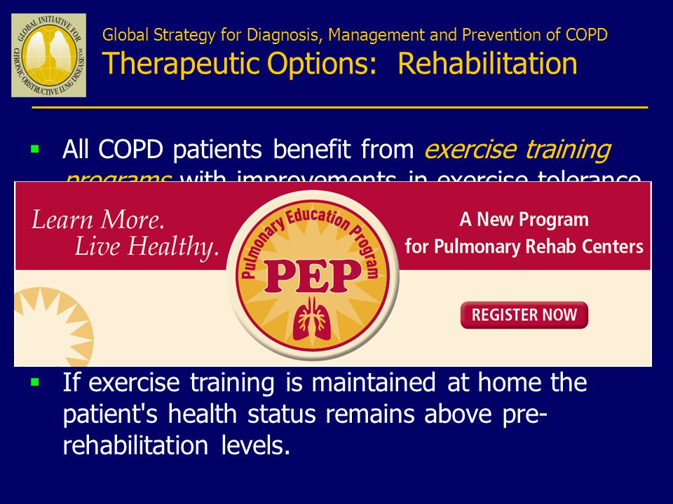 Global Strategy for Diagnosis, Management and Prevention of COPD Therapeutic Options: Rehabilitation