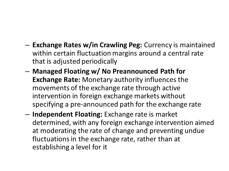 Exchange Rates w/in Crawling Peg: Currency is maintained within certain fluctuation margins around a central rate that is adjusted periodically