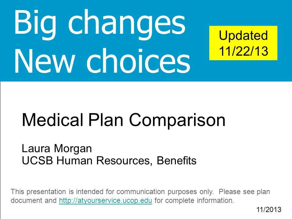Big changes New choices Medical Plan Comparison Updated 11/22/13