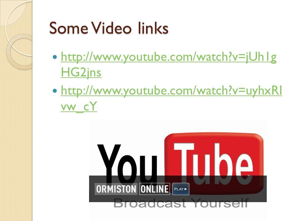 Some Video links http://www.youtube.com/watch v=jUh1g HG2jns