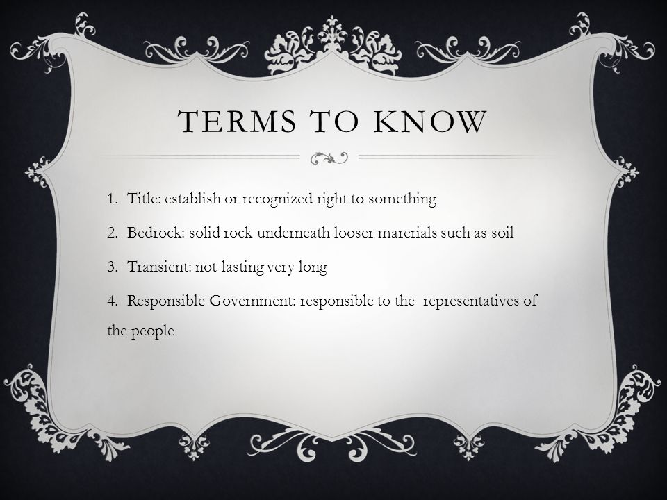 Terms to know Title: establish or recognized right to something
