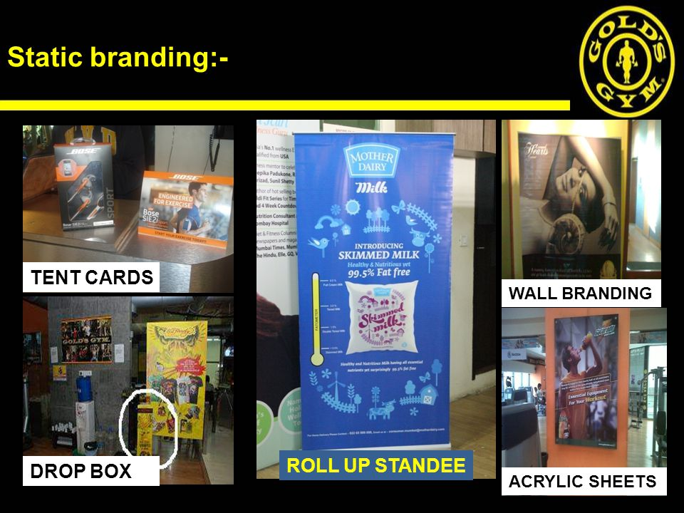 Static branding:- TENT CARDS ROLL UP STANDEE DROP BOX WALL BRANDING