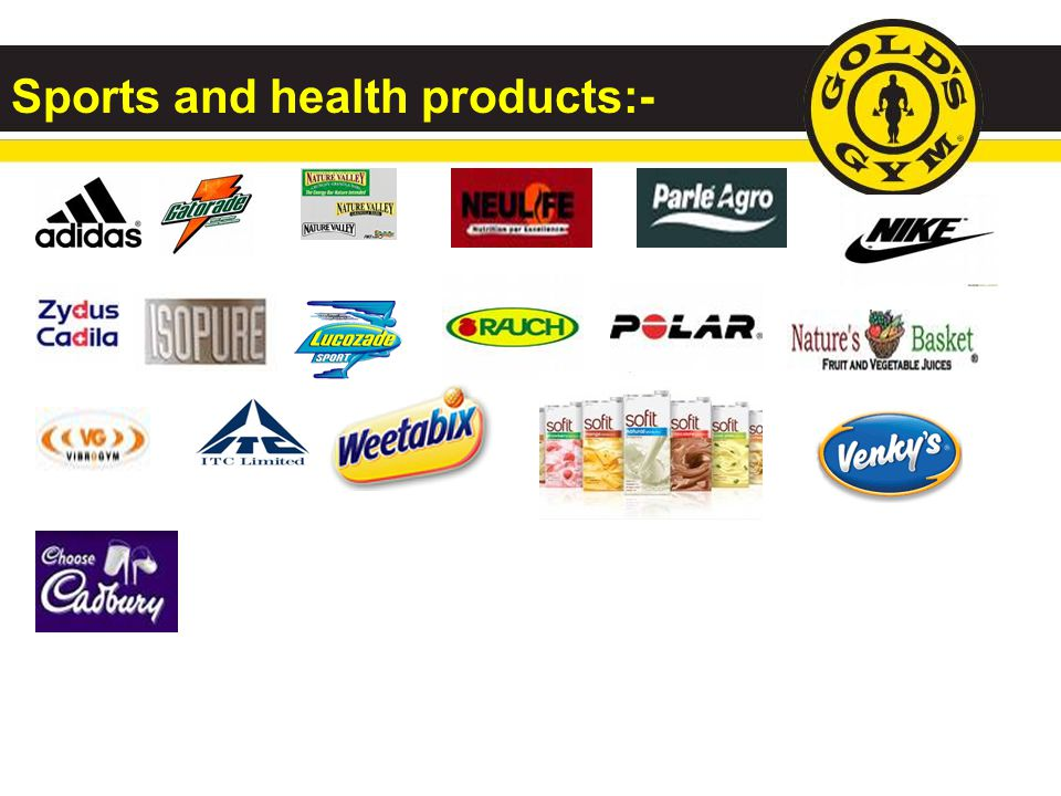 Sports and health products:-