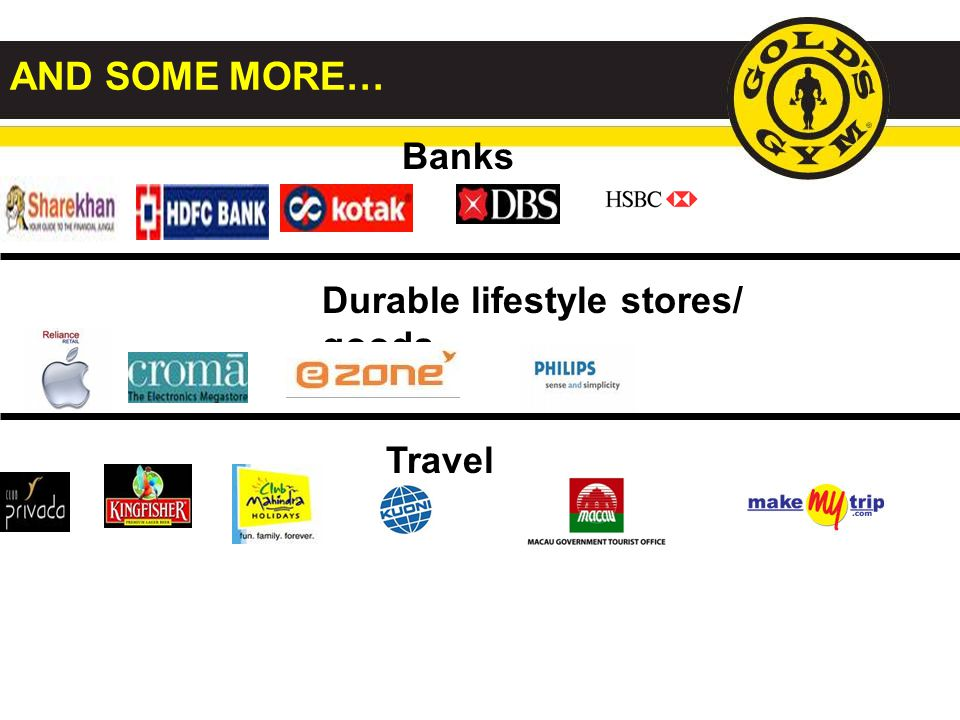 AND SOME MORE… Banks Durable lifestyle stores/ goods Travel