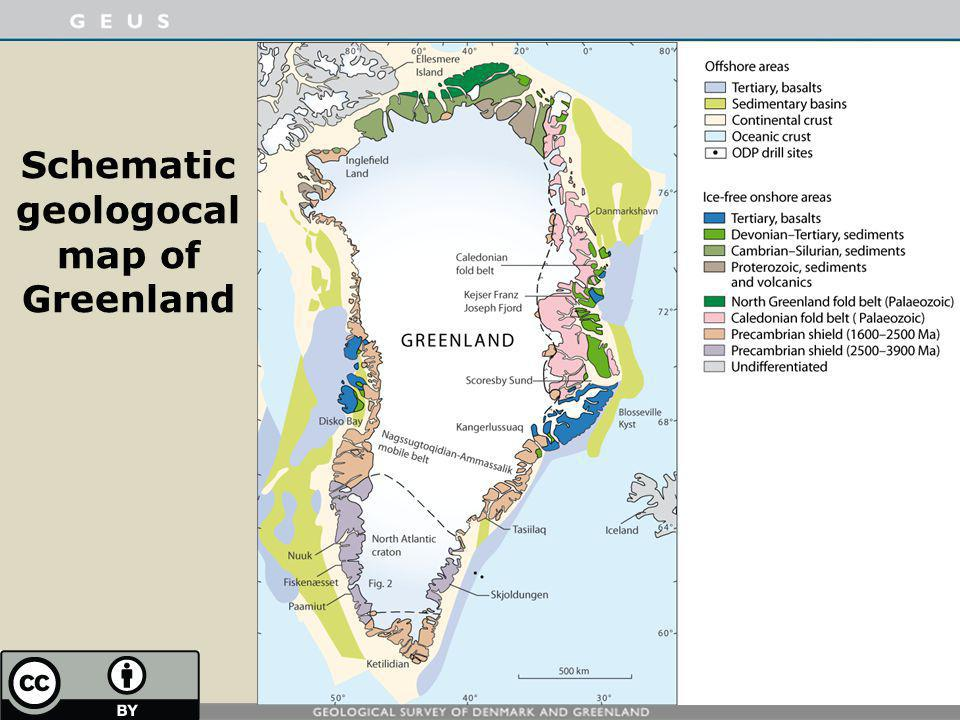 Schematic geologocal map of Greenland
