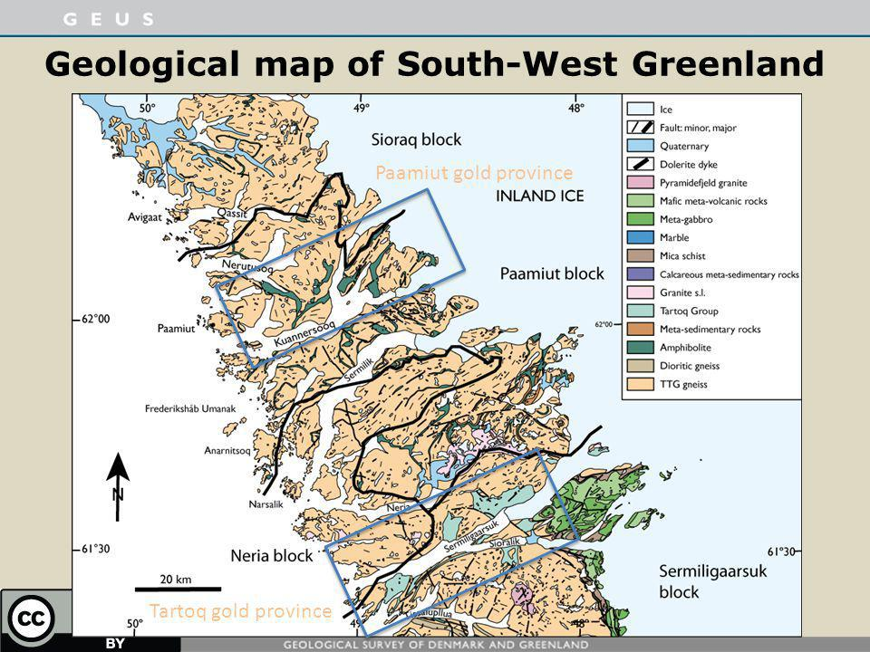 Geological map of South-West Greenland