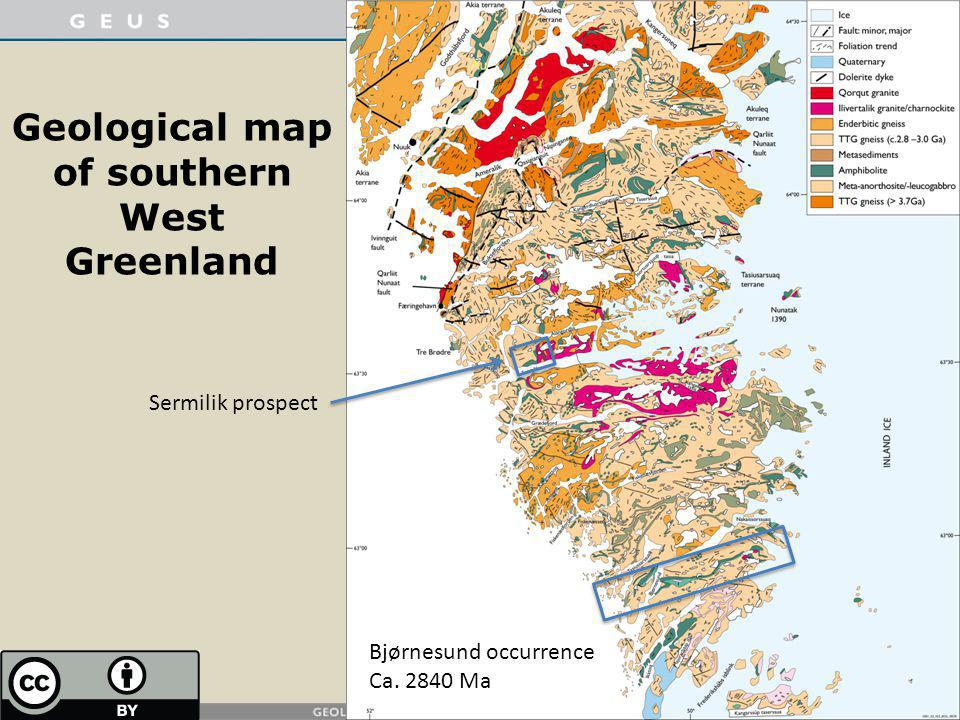 Geological map of southern West Greenland