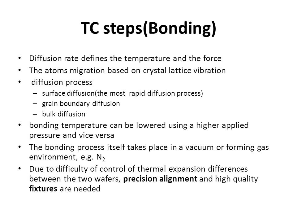 TC steps(Bonding) Diffusion rate defines the temperature and the force