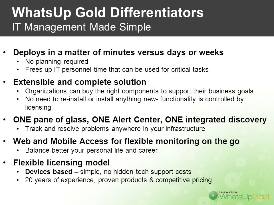 WhatsUp Gold Differentiators IT Management Made Simple