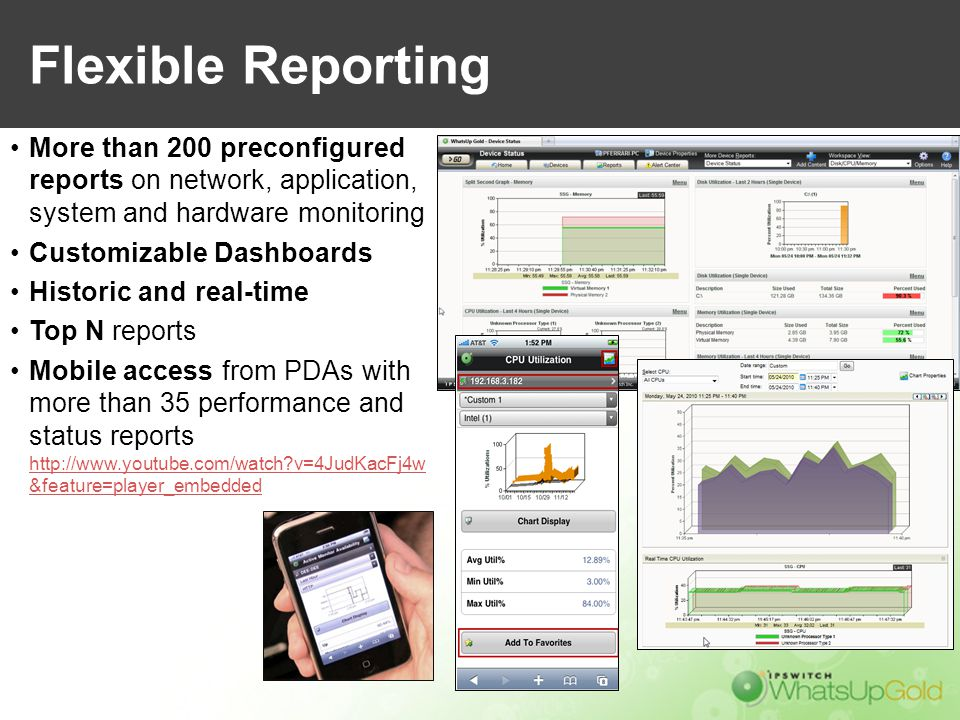 Flexible Reporting More than 200 preconfigured reports on network, application, system and hardware monitoring.