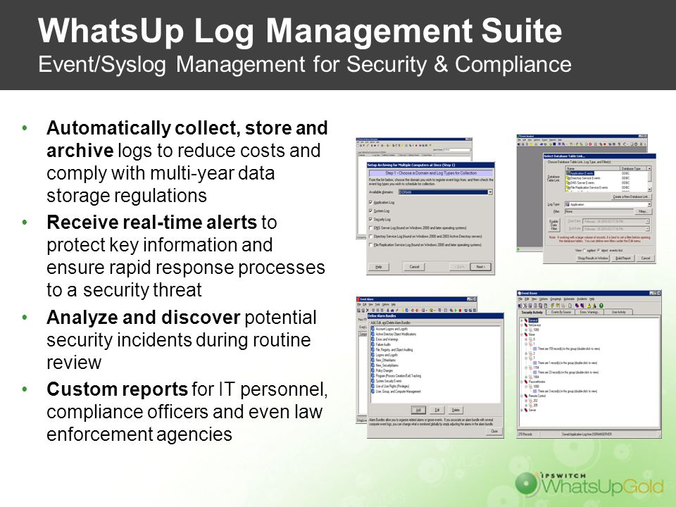 WhatsUp Log Management Suite Event/Syslog Management for Security & Compliance