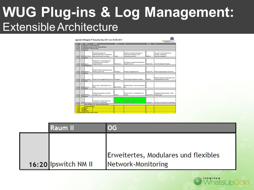 WUG Plug-ins & Log Management: Extensible Architecture