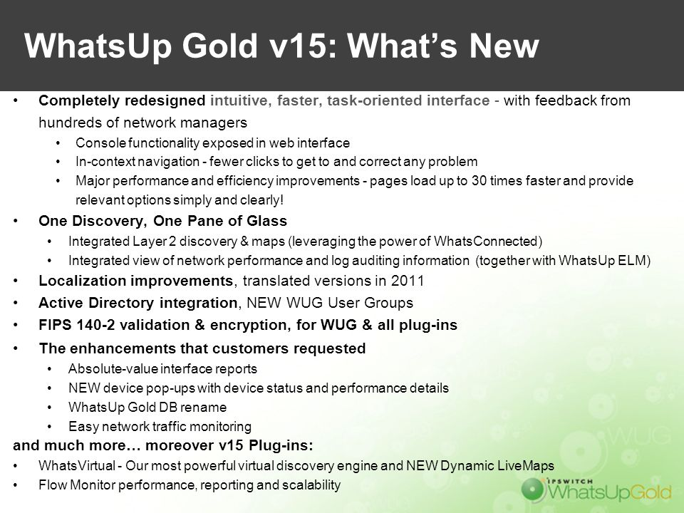 WhatsUp Gold v15: What's New