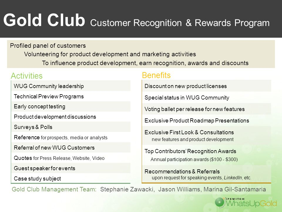 Gold Club Customer Recognition & Rewards Program