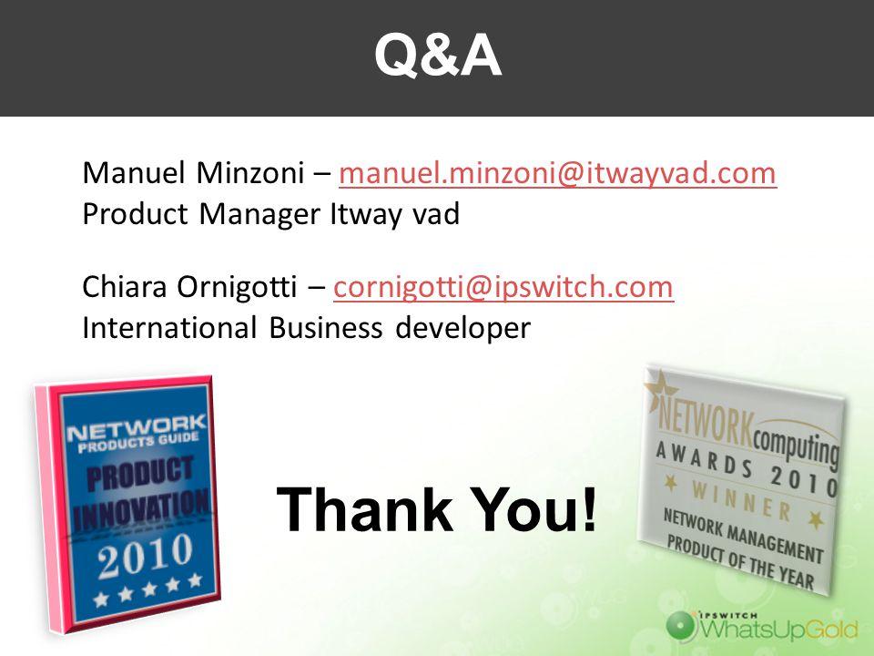 Thank You! Q&A Manuel Minzoni – manuel.minzoni@itwayvad.com