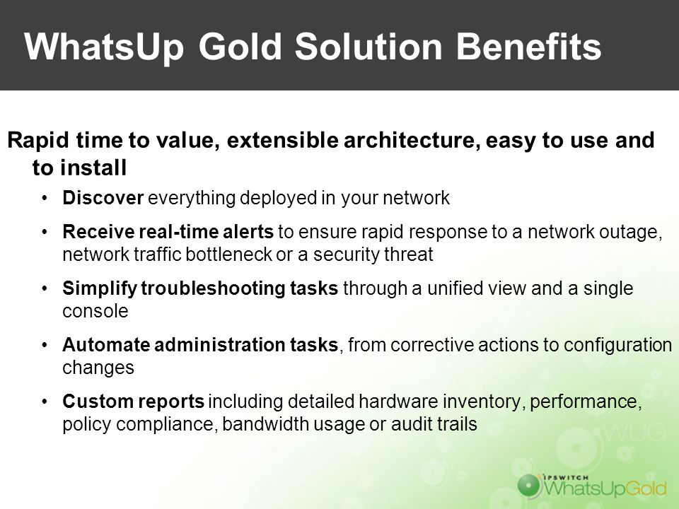 WhatsUp Gold Solution Benefits