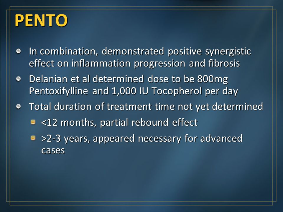 PENTO In combination, demonstrated positive synergistic effect on inflammation progression and fibrosis.