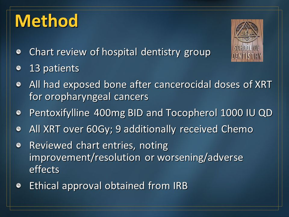 Method Chart review of hospital dentistry group 13 patients