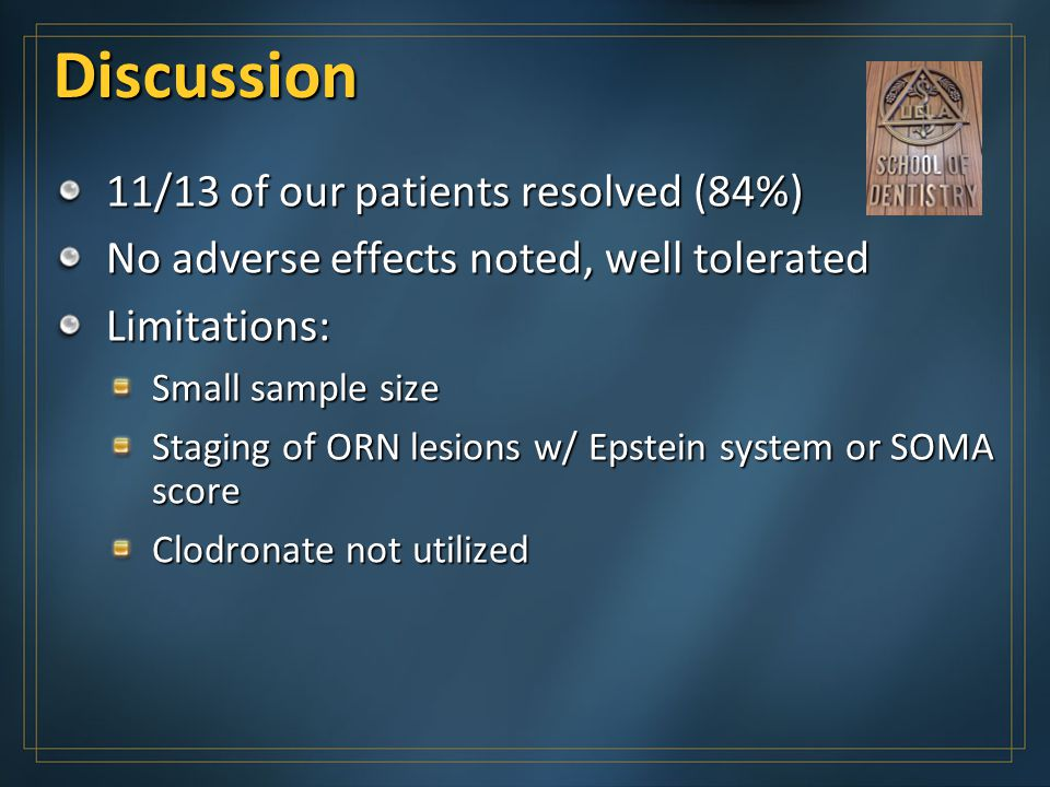 Discussion 11/13 of our patients resolved (84%)