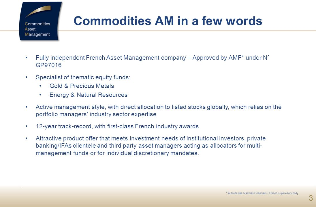 Commodities AM in a few words