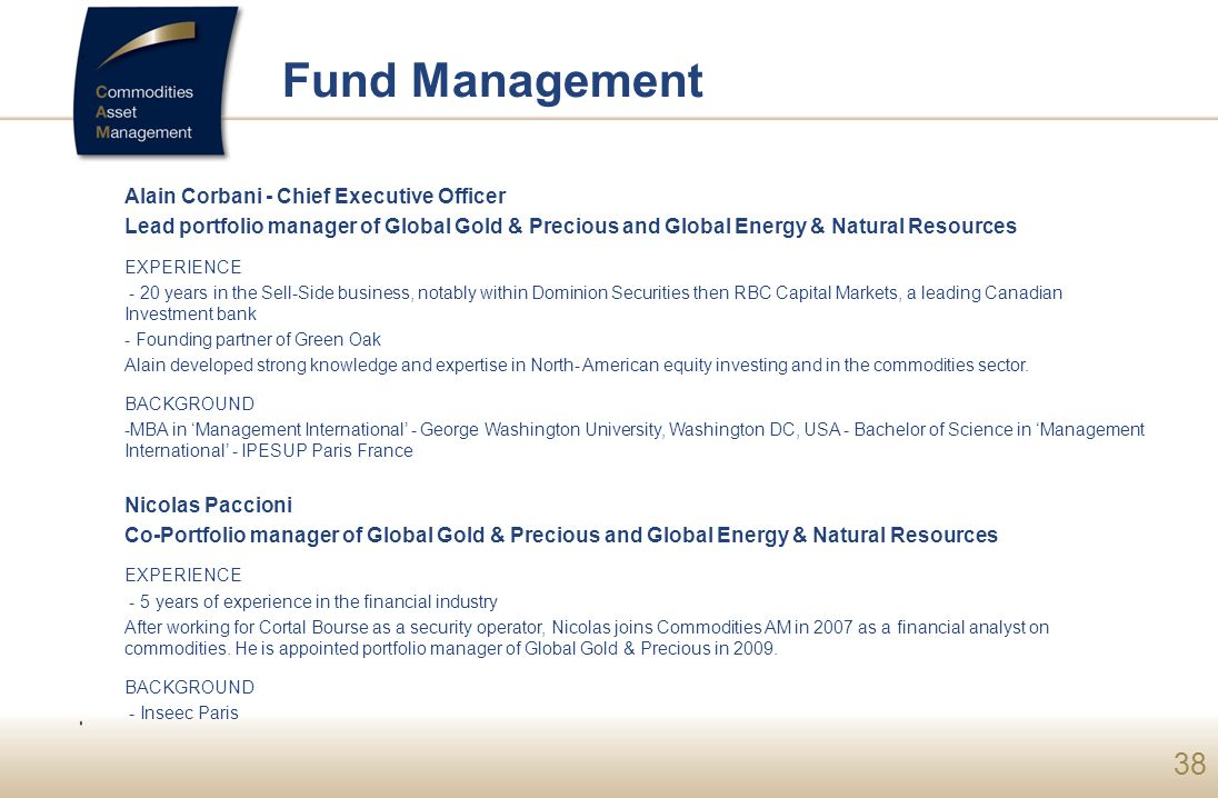 Fund Management Alain Corbani - Chief Executive Officer