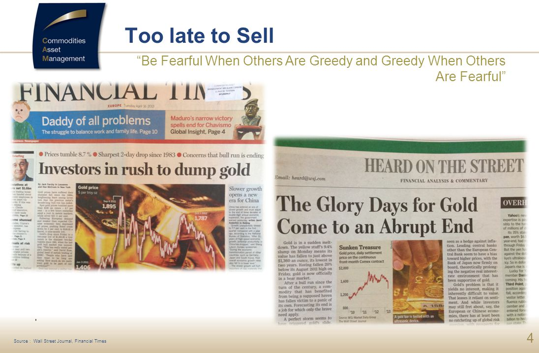 Too late to Sell Be Fearful When Others Are Greedy and Greedy When Others Are Fearful Source : Wall Street Journal, Financial Times.