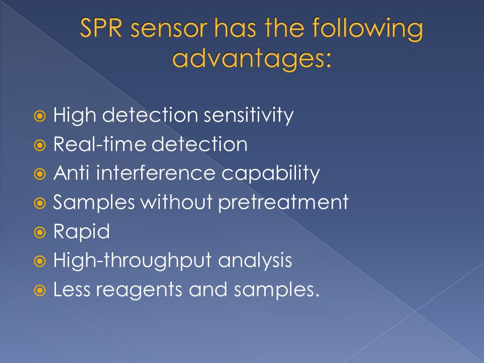 SPR sensor has the following advantages: