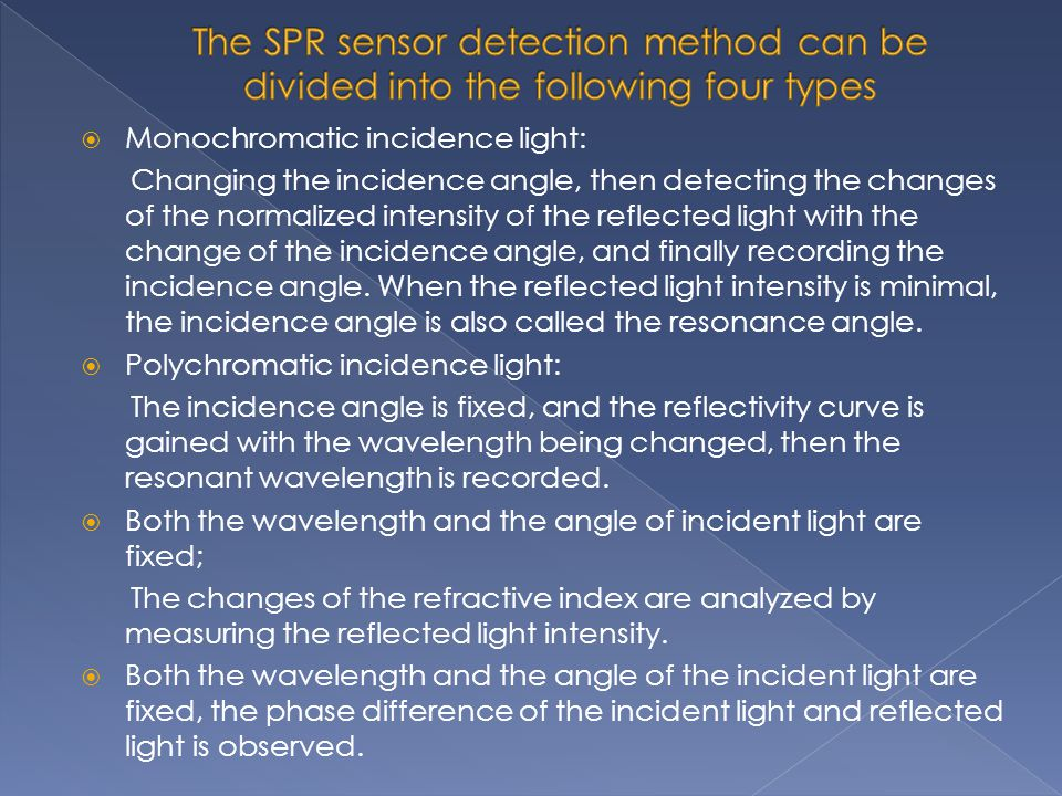 The SPR sensor detection method can be divided into the following four types