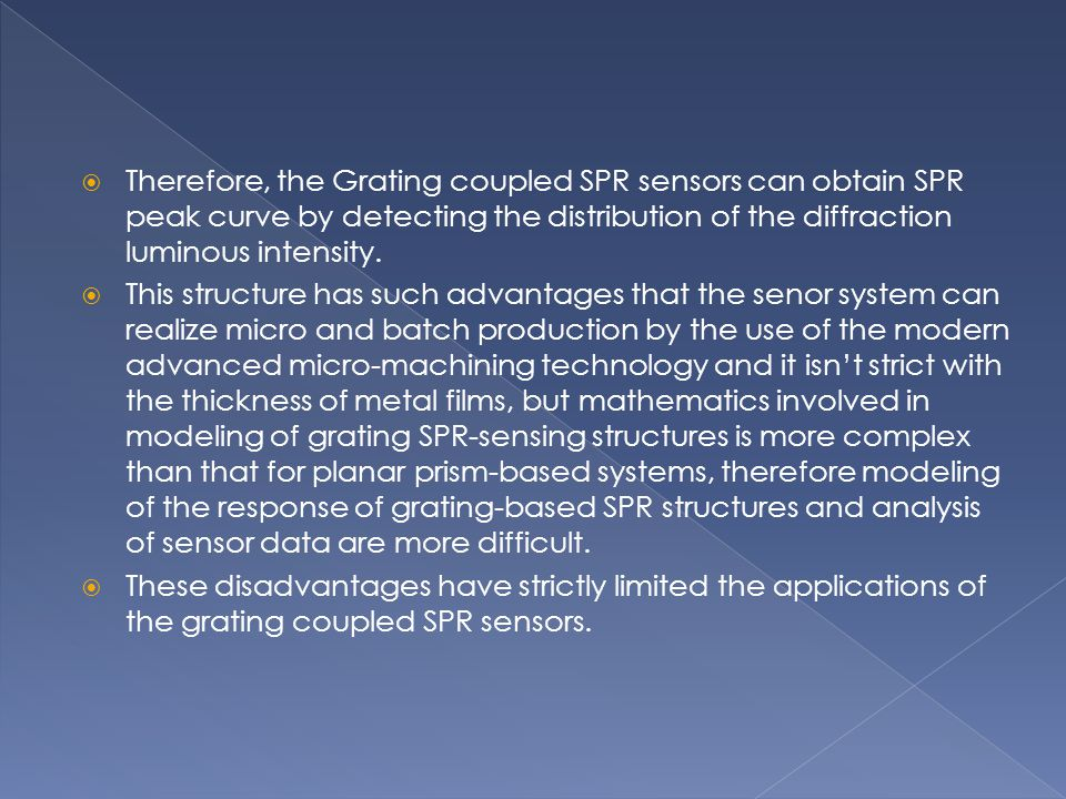 Therefore, the Grating coupled SPR sensors can obtain SPR peak curve by detecting the distribution of the diffraction luminous intensity.