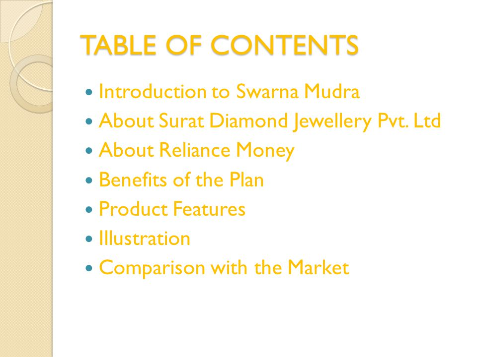 TABLE OF CONTENTS Introduction to Swarna Mudra