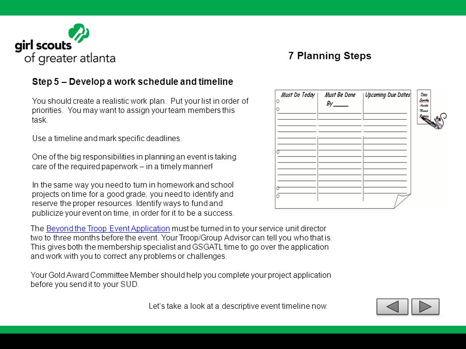 7 Planning Steps Step 5 – Develop a work schedule and timeline