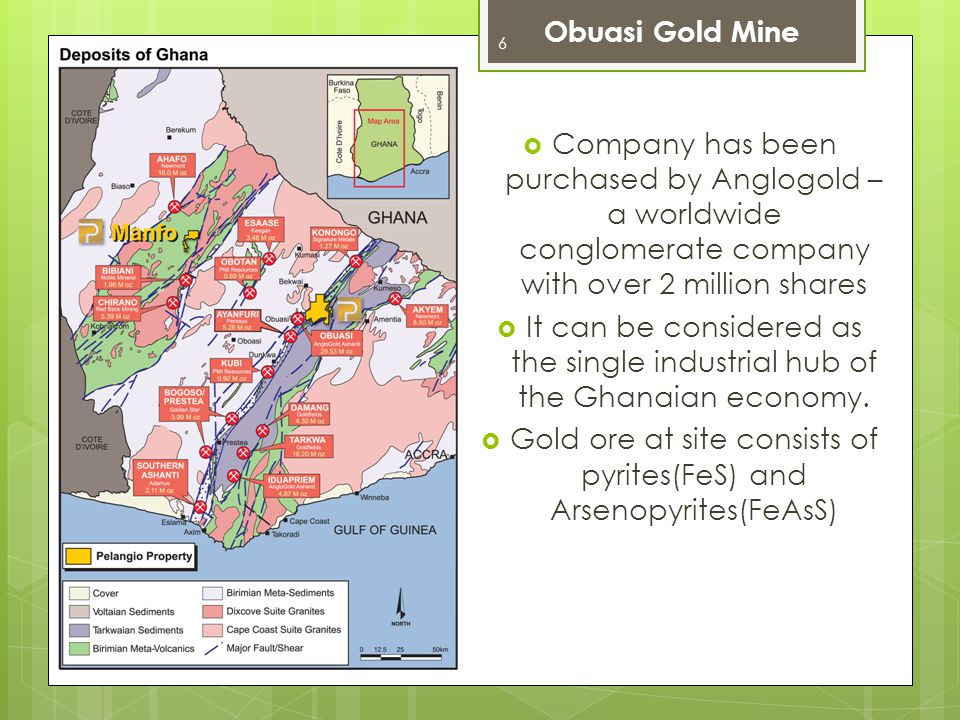 Gold ore at site consists of pyrites(FeS) and Arsenopyrites(FeAsS)