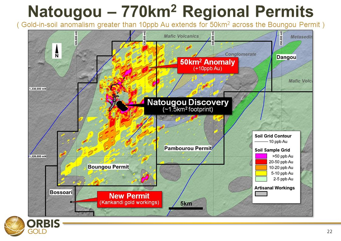 Natougou – 770km2 Regional Permits ( Gold-in-soil anomalism greater than 10ppb Au extends for 50km2 across the Boungou Permit )