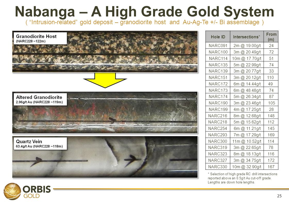 Nabanga – A High Grade Gold System ( Intrusion-related gold deposit – granodiorite host and Au-Ag-Te +/- Bi assemblage )