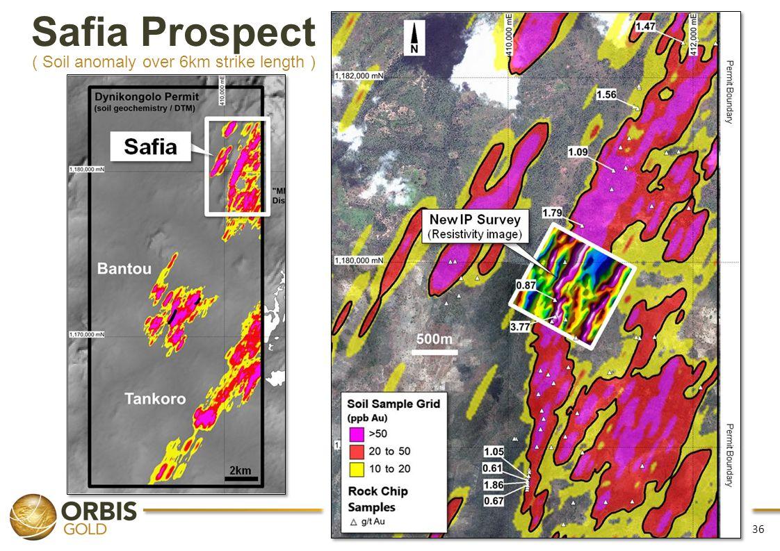 Safia Prospect ( Soil anomaly over 6km strike length )