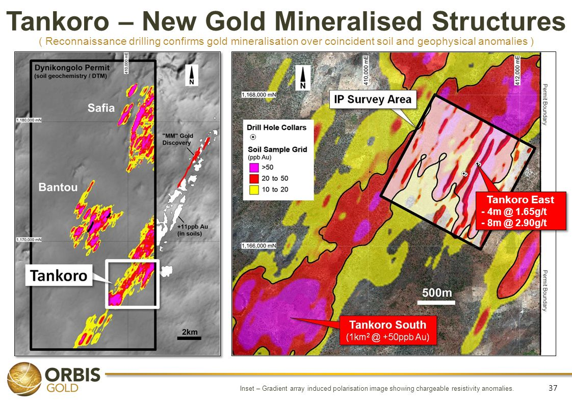 Tankoro – New Gold Mineralised Structures ( Reconnaissance drilling confirms gold mineralisation over coincident soil and geophysical anomalies )