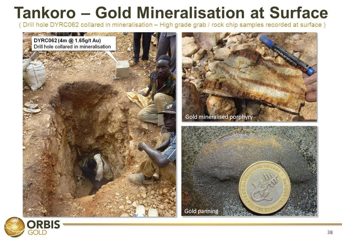 Tankoro – Gold Mineralisation at Surface ( Drill hole DYRC062 collared in mineralisation – High grade grab / rock chip samples recorded at surface )