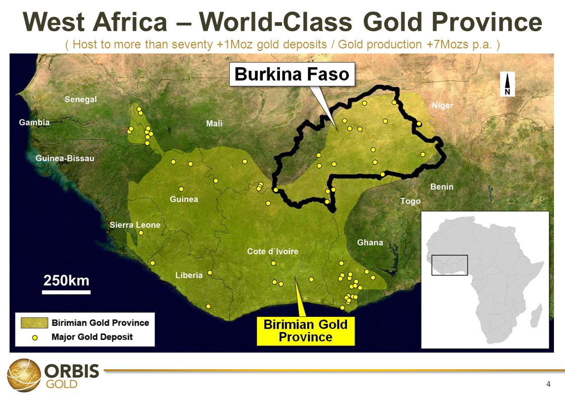 West Africa – World-Class Gold Province ( Host to more than seventy +1Moz gold deposits / Gold production +7Mozs p.a.