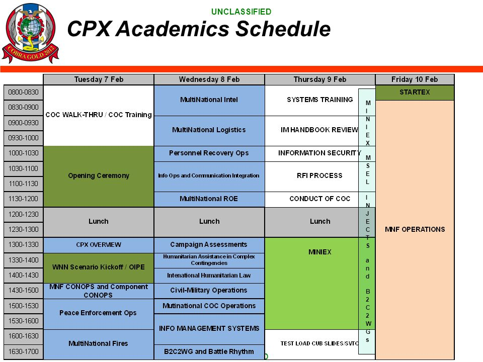 CPX Academics Schedule MINIEX MSEL INJECTS and B2C2WGs