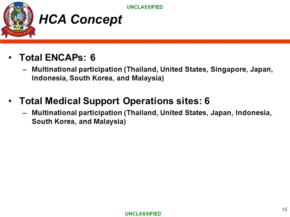 HCA Concept Total ENCAPs: 6 Total Medical Support Operations sites: 6