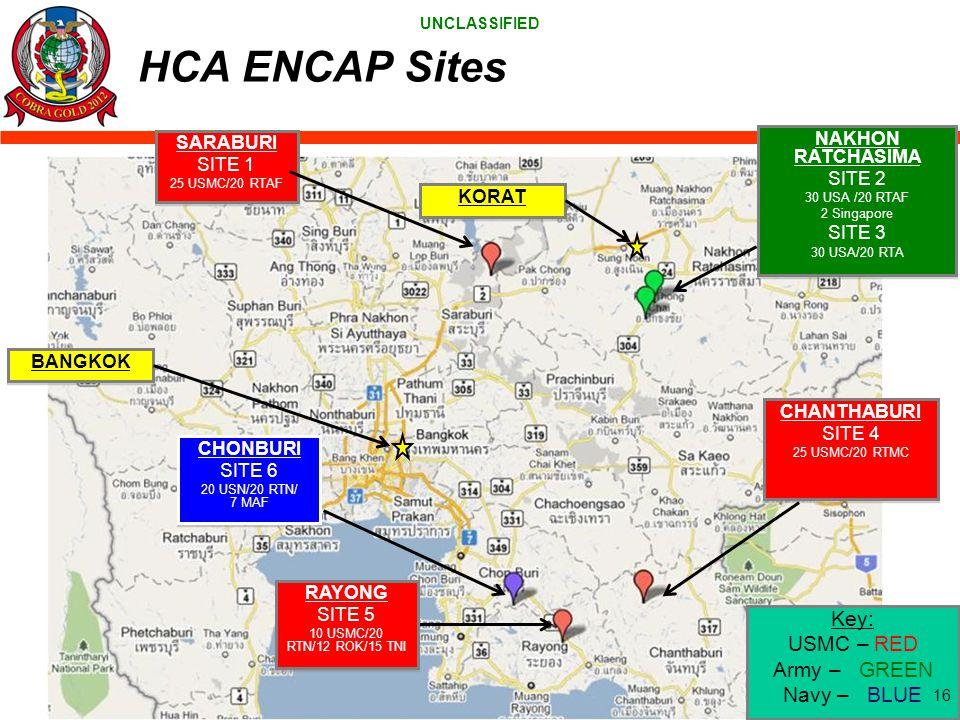 HCA ENCAP Sites Key: USMC – RED Army – GREEN Navy – BLUE