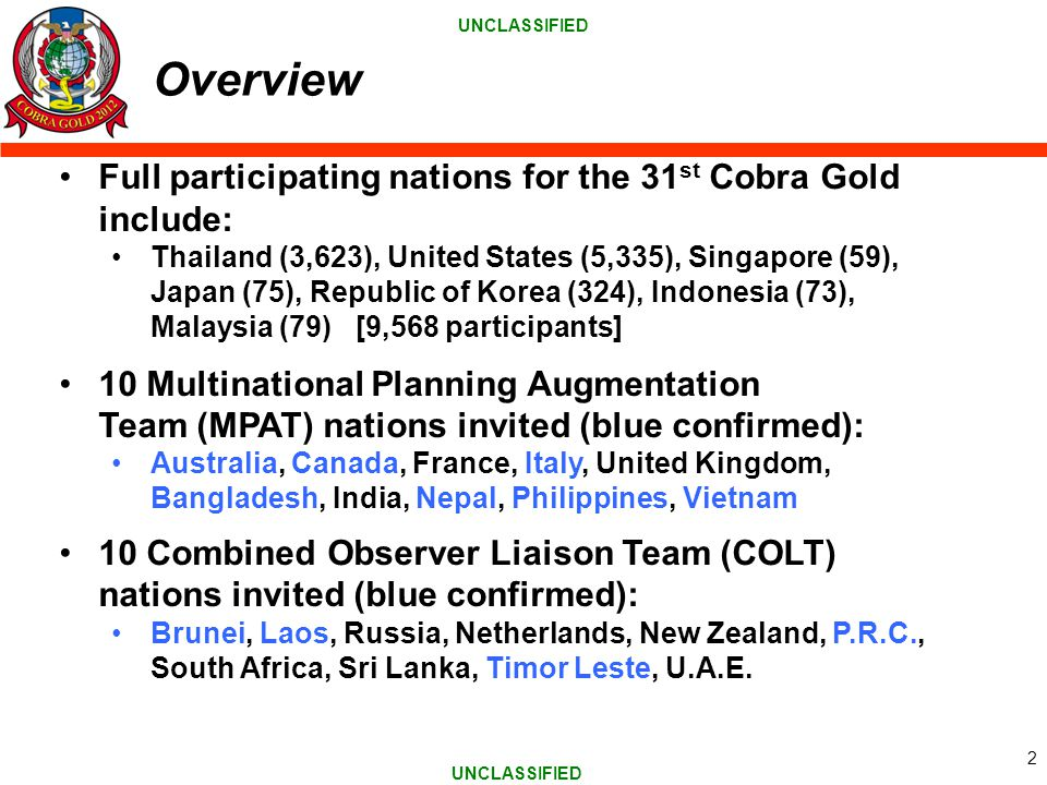 Overview Full participating nations for the 31st Cobra Gold include: