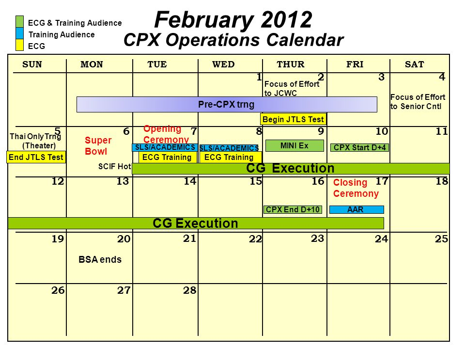 CPX Operations Calendar