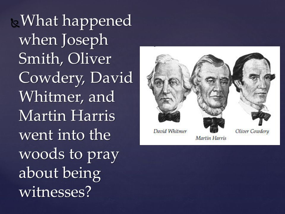 What happened when Joseph Smith, Oliver Cowdery, David Whitmer, and Martin Harris went into the woods to pray about being witnesses