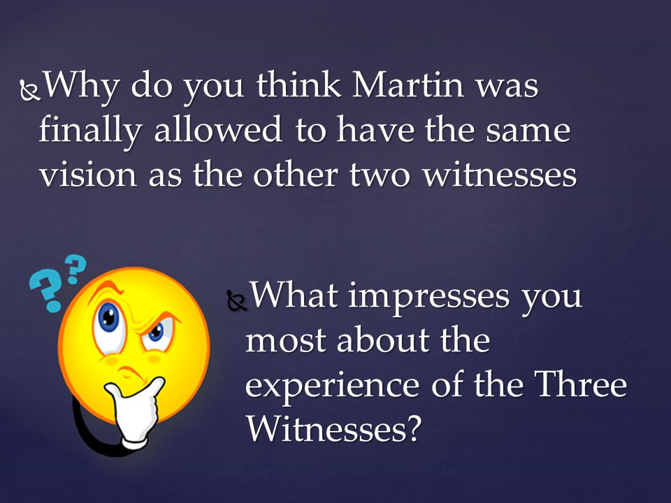 Why do you think Martin was finally allowed to have the same vision as the other two witnesses