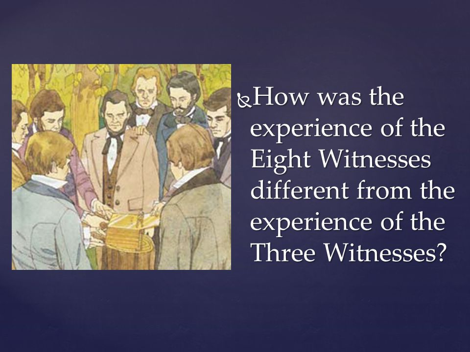 How was the experience of the Eight Witnesses different from the experience of the Three Witnesses