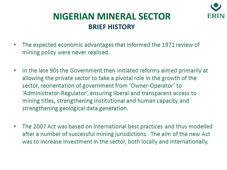 NIGERIAN MINERAL SECTOR BRIEF HISTORY