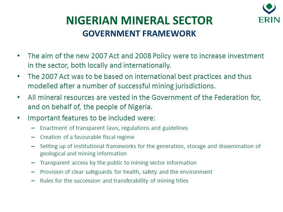NIGERIAN MINERAL SECTOR GOVERNMENT FRAMEWORK
