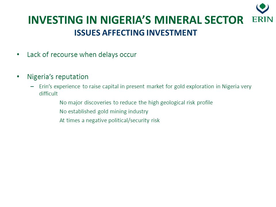 INVESTING IN NIGERIA'S MINERAL SECTOR ISSUES AFFECTING INVESTMENT