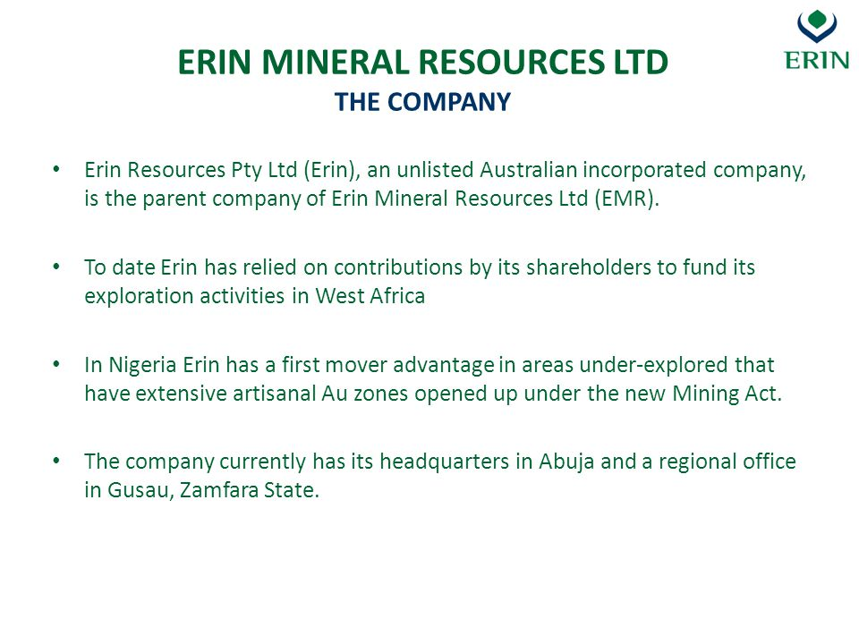 ERIN MINERAL RESOURCES LTD THE COMPANY